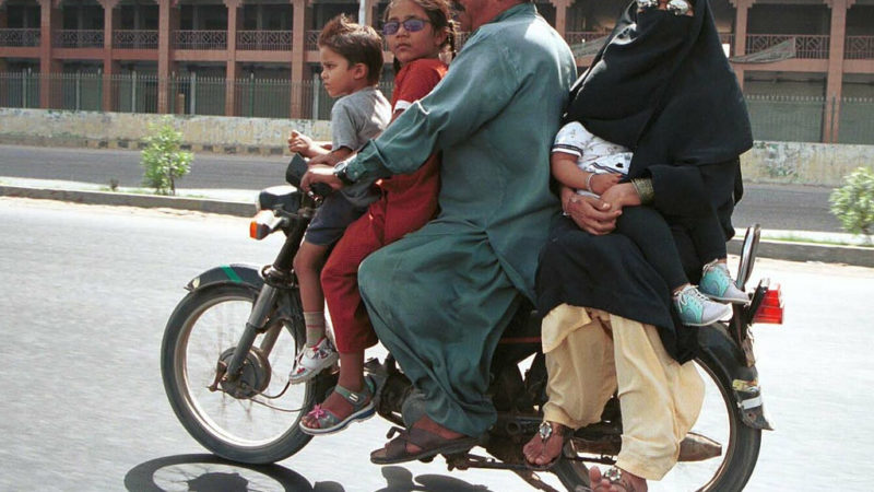 Family on motorcycle