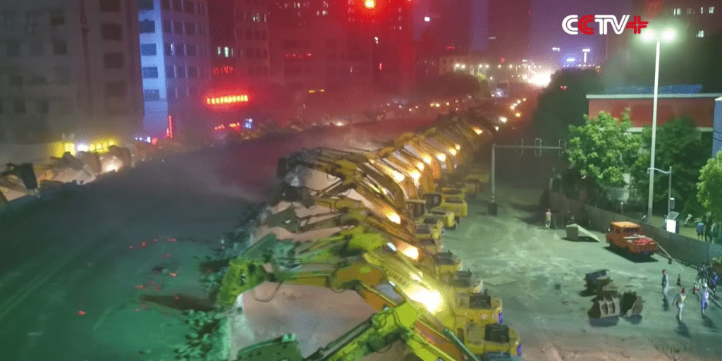 An Army Of Chinese Excavators Demolished An Overpass Within A Night 8