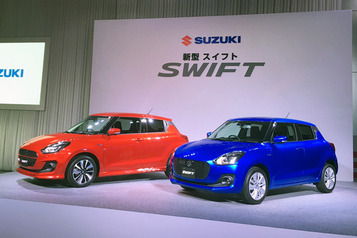 2017 Suzuki Swift front three quarters Japan launch event
