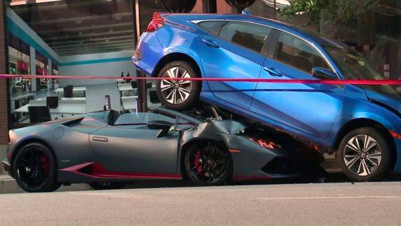 Lamborghini Huracan Spyder Rear-Ends Honda Civic in Chicago 2