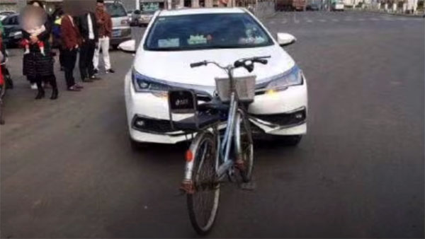 Images of Bicycle Heavily Damaging Corolla's Bumper Went Viral 7