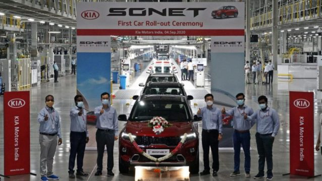 First Kia Sonet Rolls Off the Assembly Lines in India 3