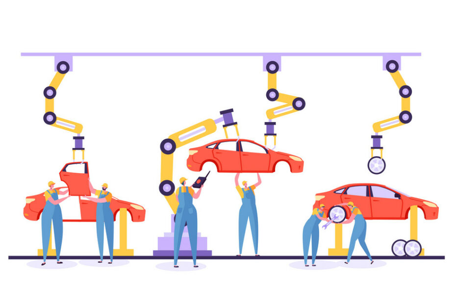 automated assembly line car production concept vector 23021233